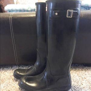 Black Glossy Hunter Boot Size 8